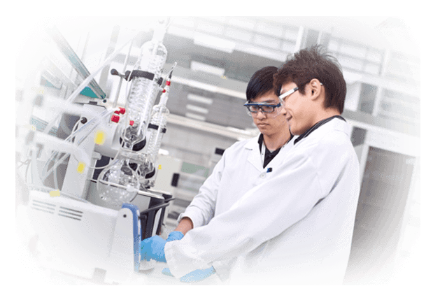 worker performing lab tests on garments and footwear in China and Asia